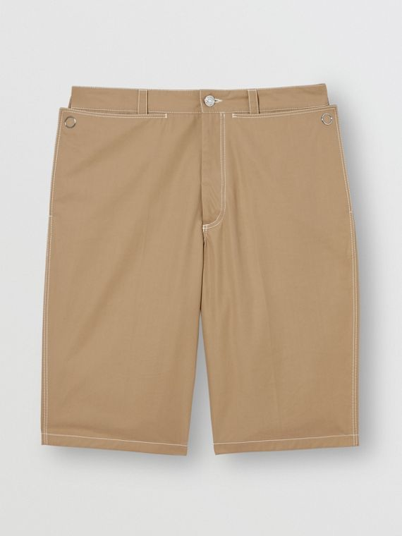 Pocket Detail Cotton Tailored Shorts in Dark Honey