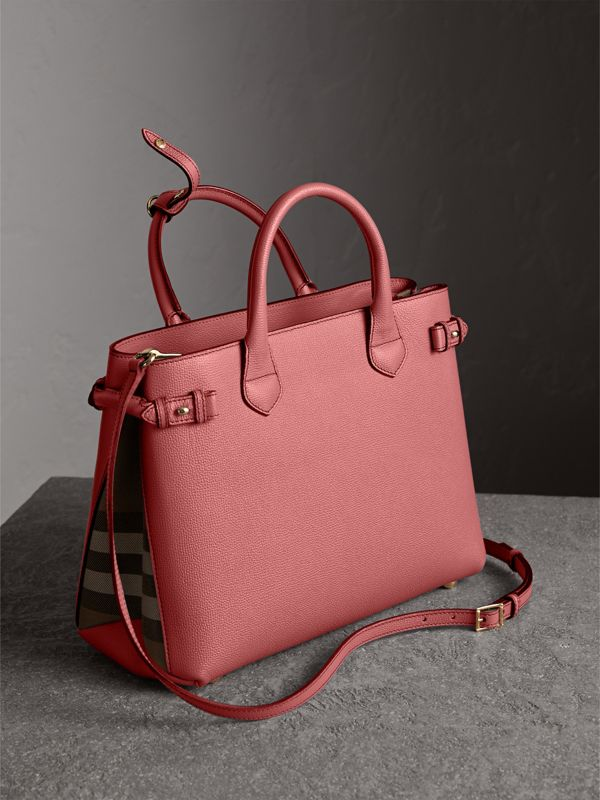 The Medium Banner in Leather and House Check in Mauve Pink - Women | Burberry - cell image 3