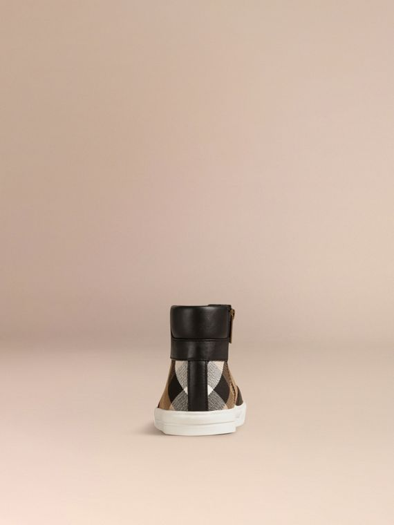 House Check and Leather High Top Trainers in Black | Burberry - cell image 2
