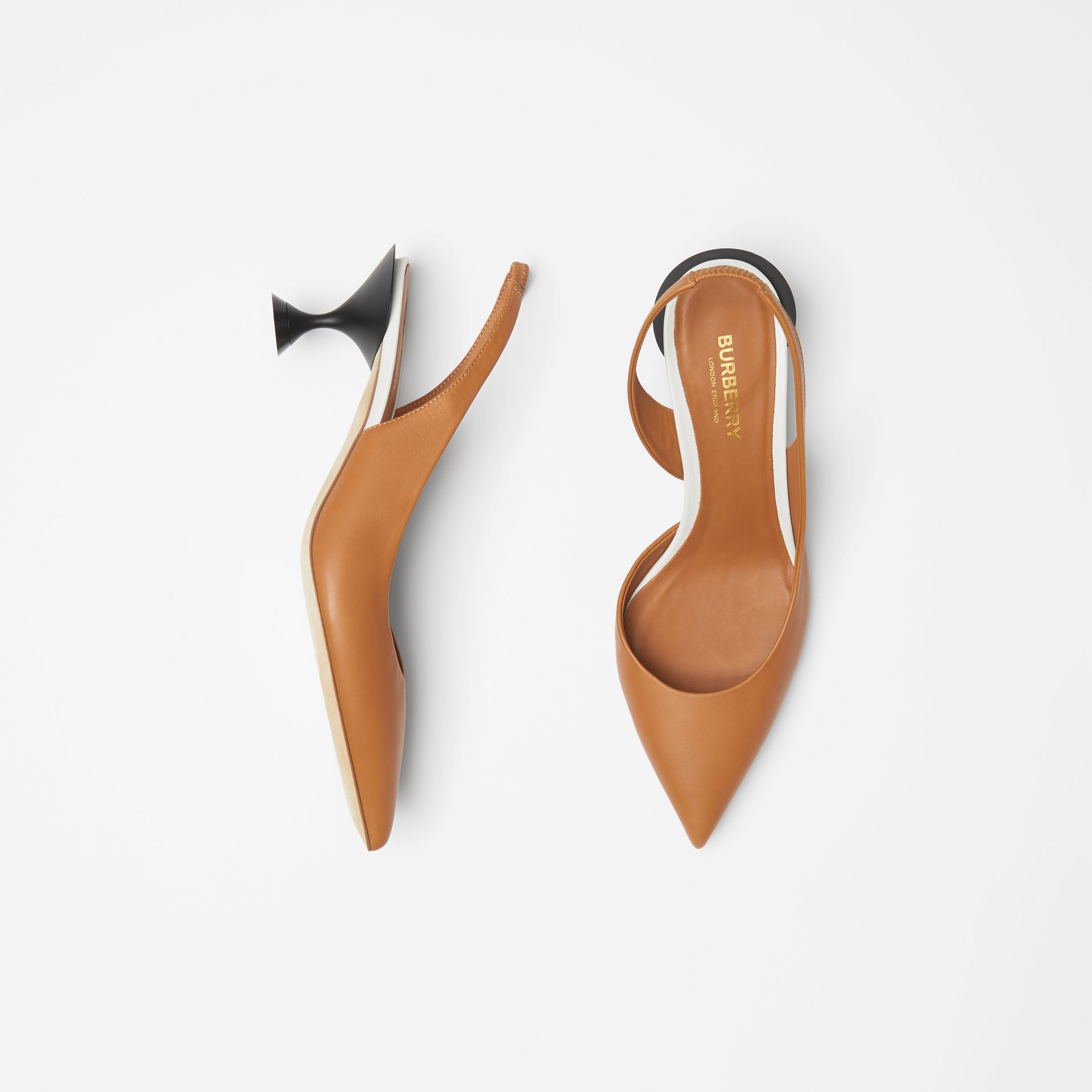 Leather Slingback Pumps in Camel - Women | Burberry - gallery image 0