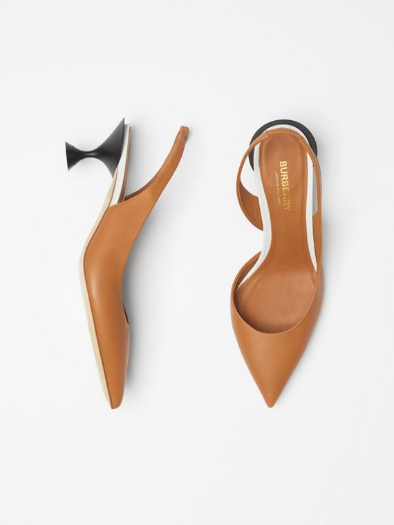 Leather Slingback Pumps in Camel