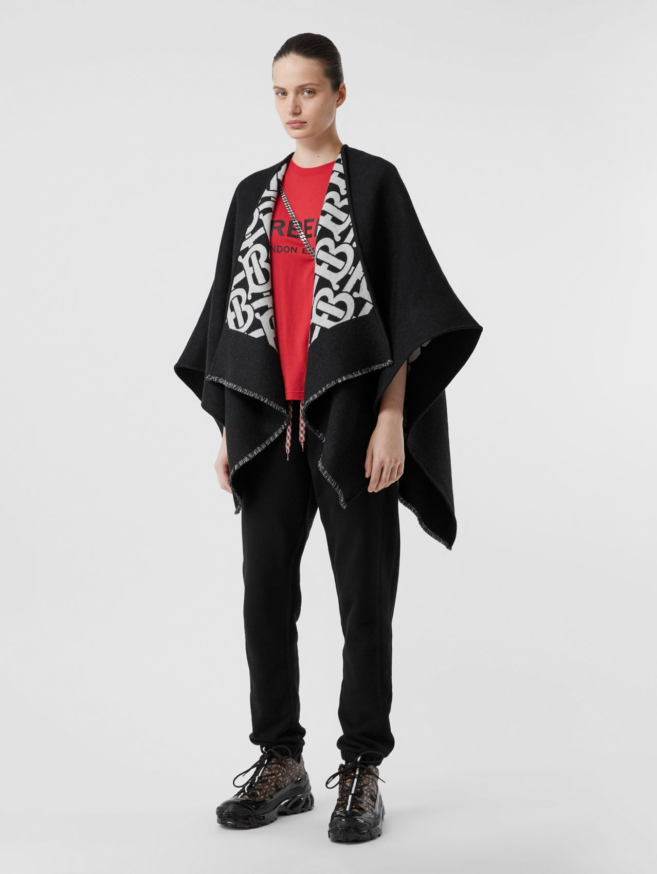 Monogram Wool Jacquard Cape (Black)
