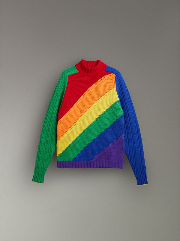 Rainbow Wool-cashmere Turtleneck Sweater in Multicolour - Women | Burberry Australia - cell image 3