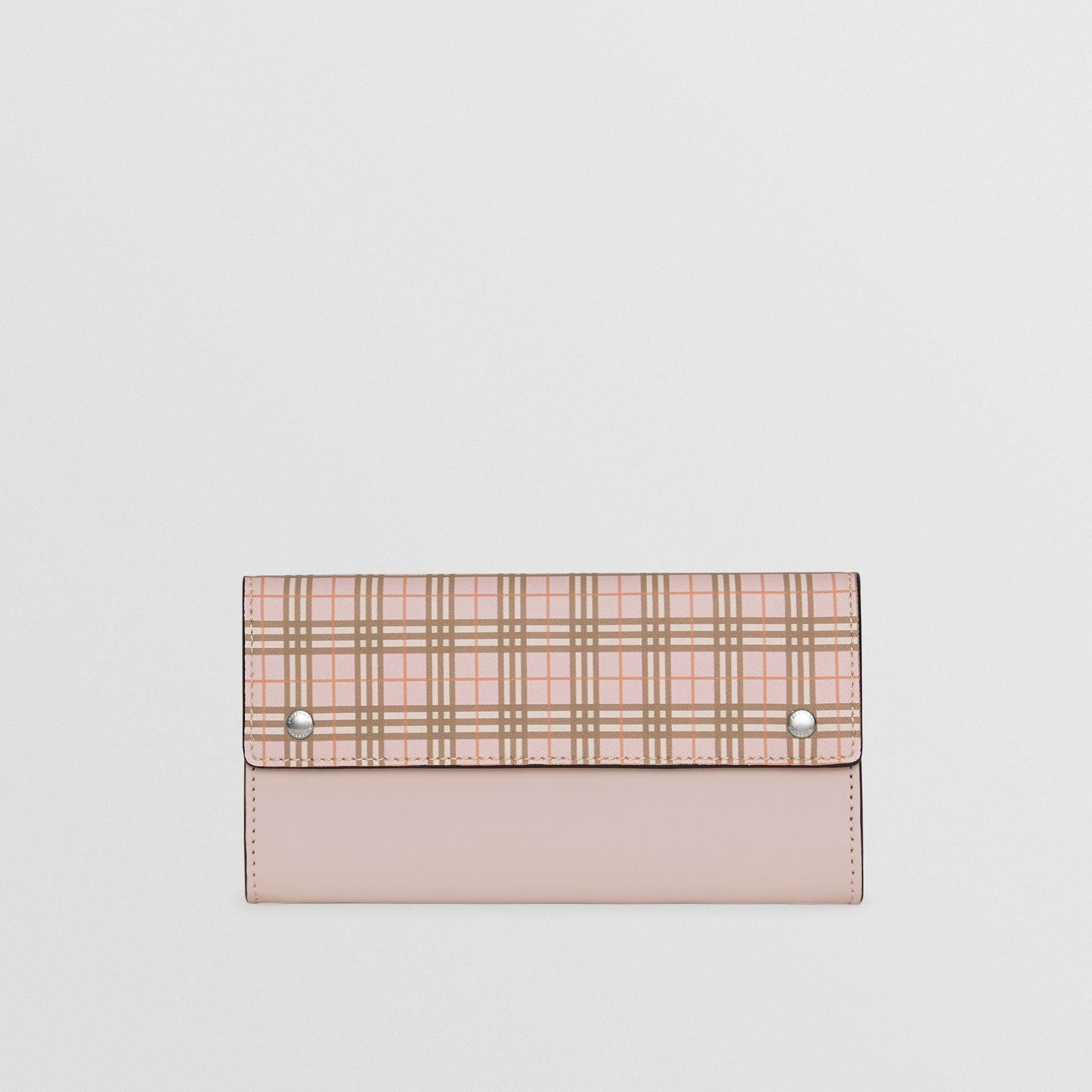 Small Scale Check and Leather Continental Wallet in Ice Pink - Women | Burberry - gallery image 0