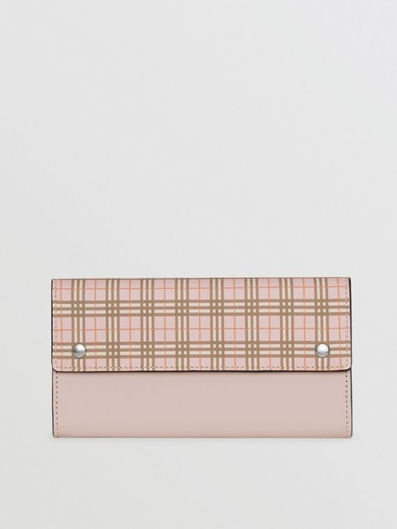 Small Scale Check and Leather Continental Wallet in Ice Pink