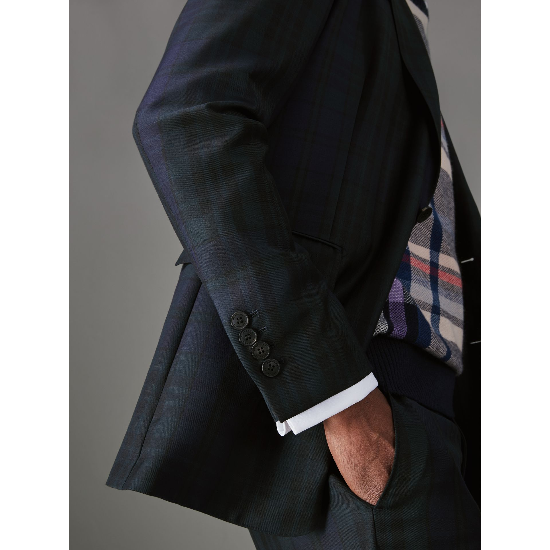 Soho Fit Tartan Wool Twill Suit in Navy - Men | Burberry - gallery image 1