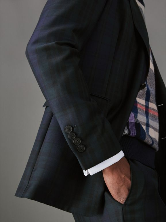 Soho Fit Tartan Wool Twill Suit in Navy - Men | Burberry - cell image 1