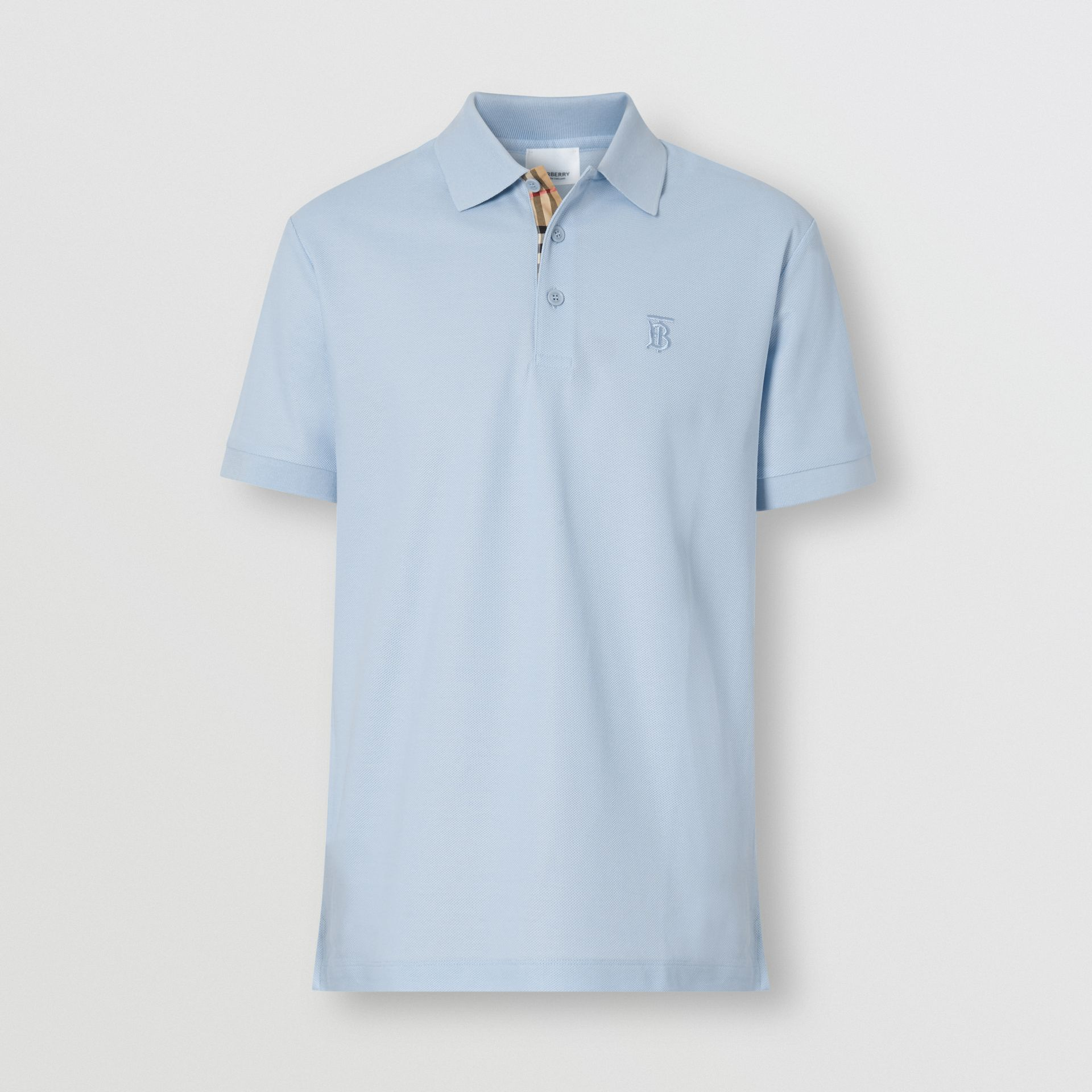 Monogram Motif Cotton Piqué Polo Shirt in Pale Blue - Men | Burberry - gallery image 3