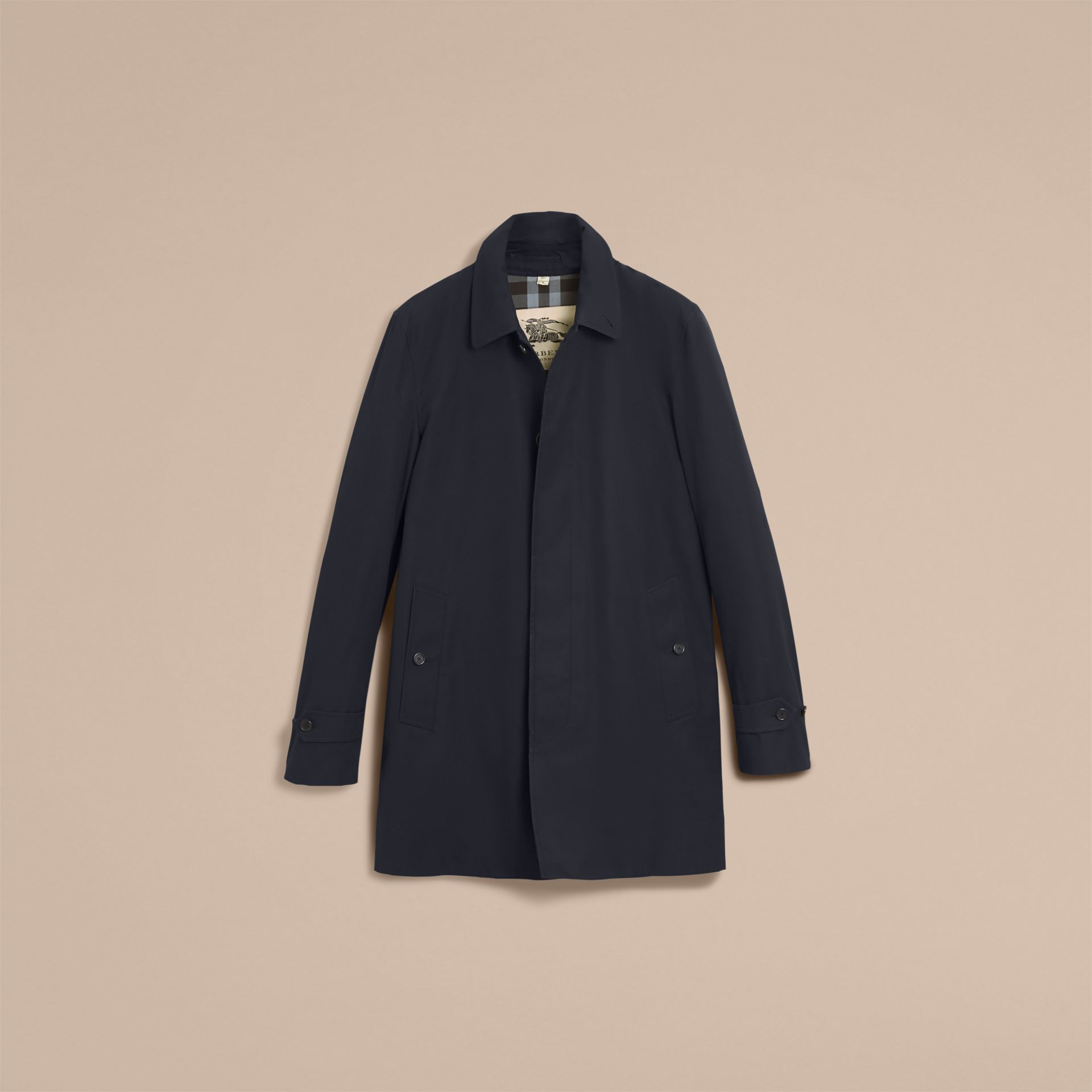 Cotton Gabardine Car Coat Navy - gallery image 4