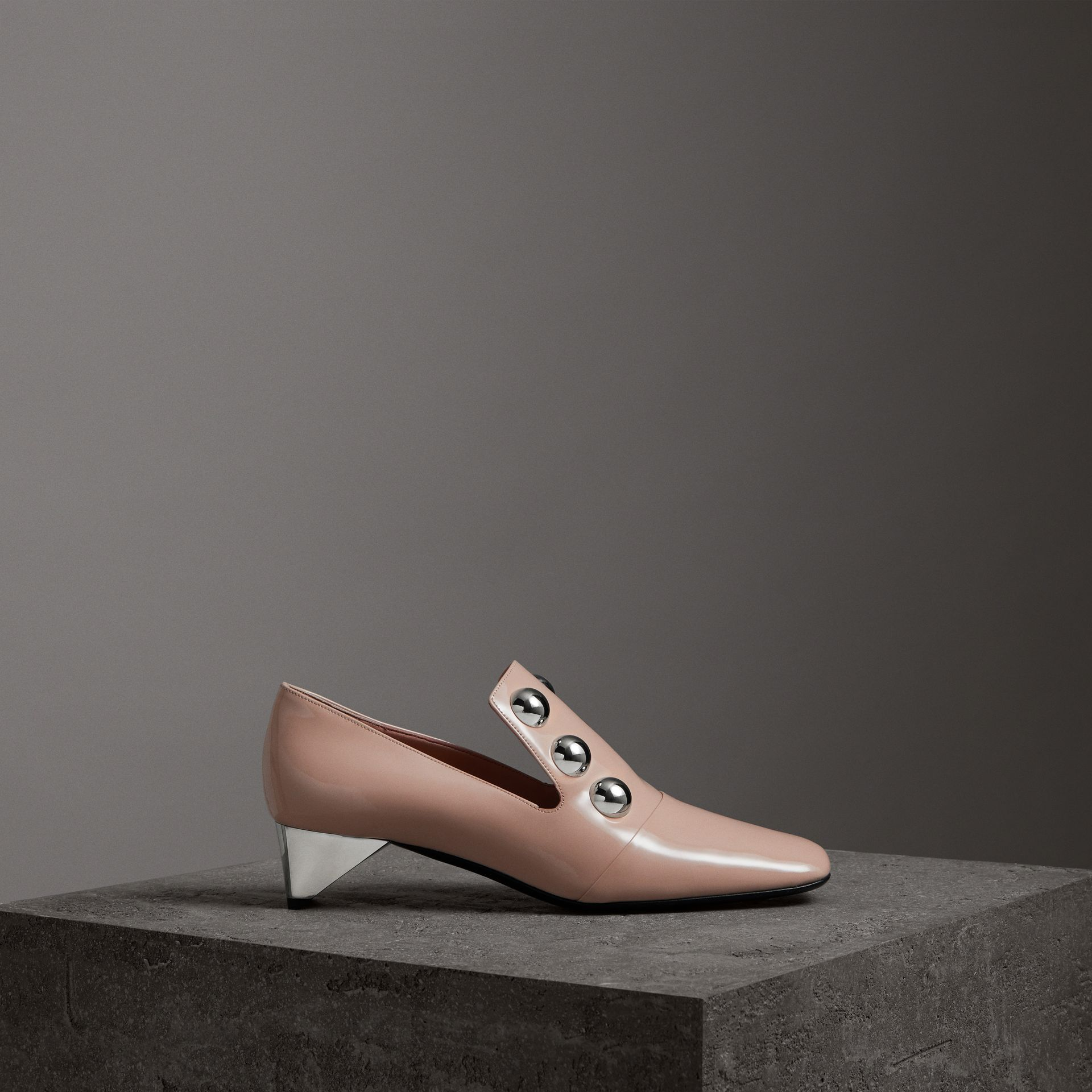 Stud Detail Patent Leather Pumps in Pale Fawn Pink - Women | Burberry - gallery image 0