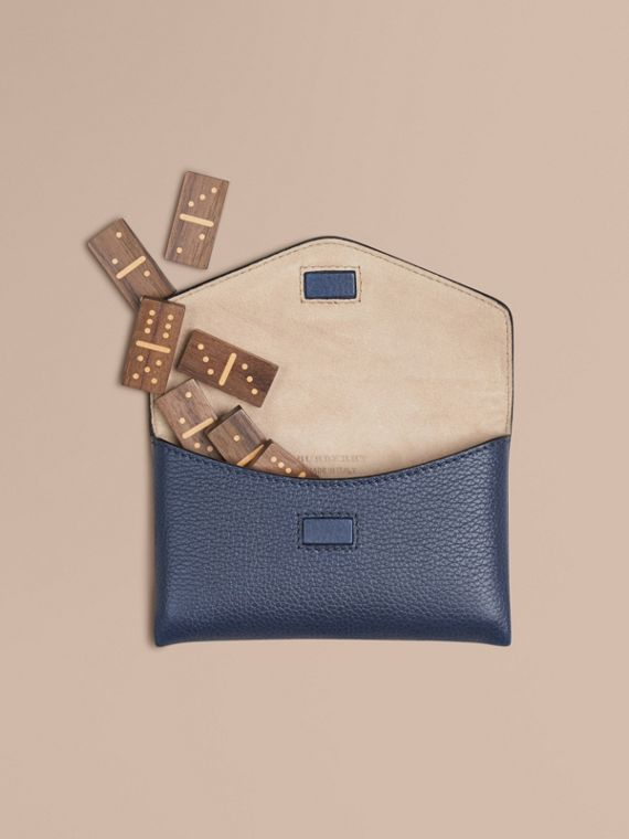 Wooden Domino Set with Grainy Leather Case in Bright Navy