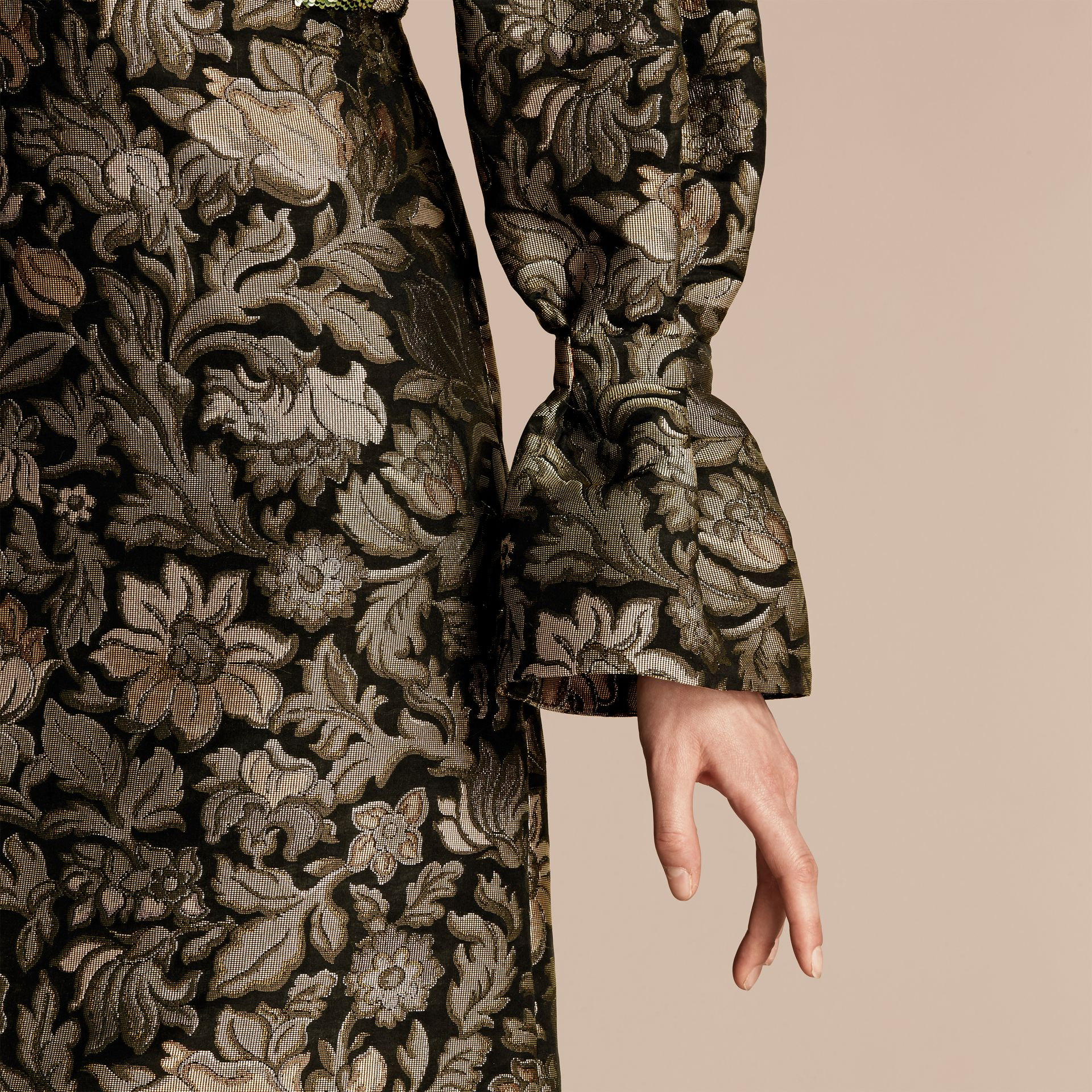 Sage Floral Tapestry Fil Coupé and Sequin Dress - gallery image 5