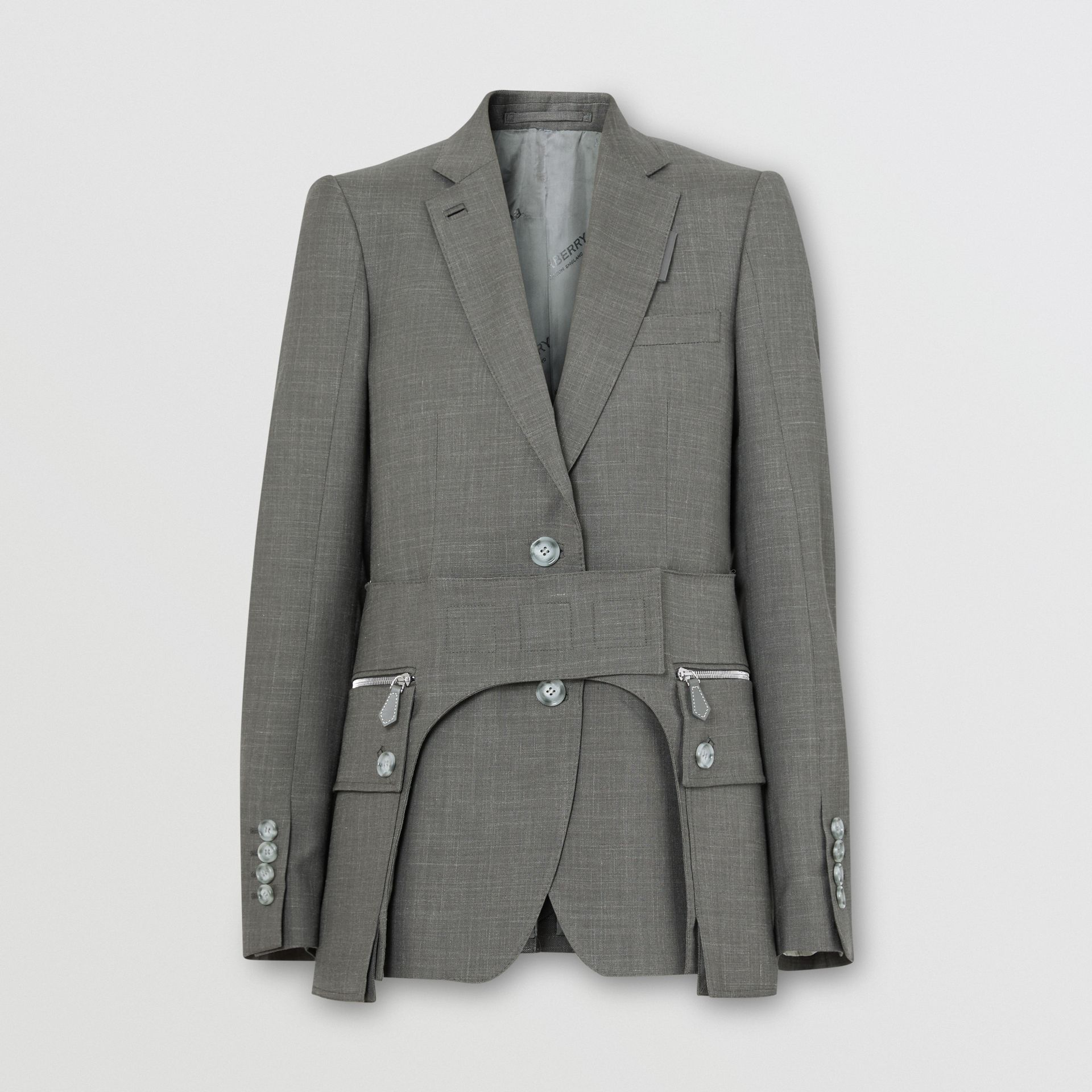 Cargo Belt Detail Wool Silk Mohair Linen Blazer in Charcoal Grey - Women   Burberry - gallery image 3