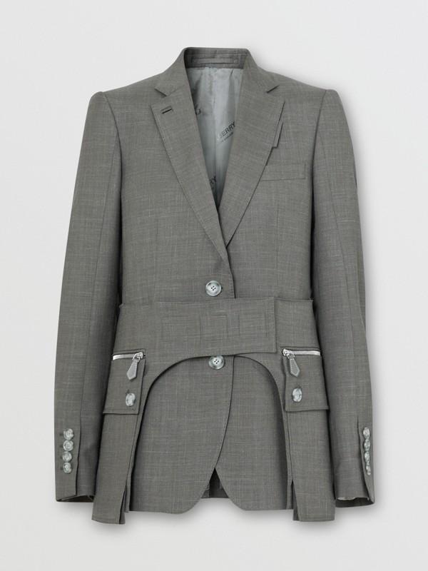 Cargo Belt Detail Wool Silk Mohair Linen Blazer in Charcoal Grey - Women   Burberry - cell image 3