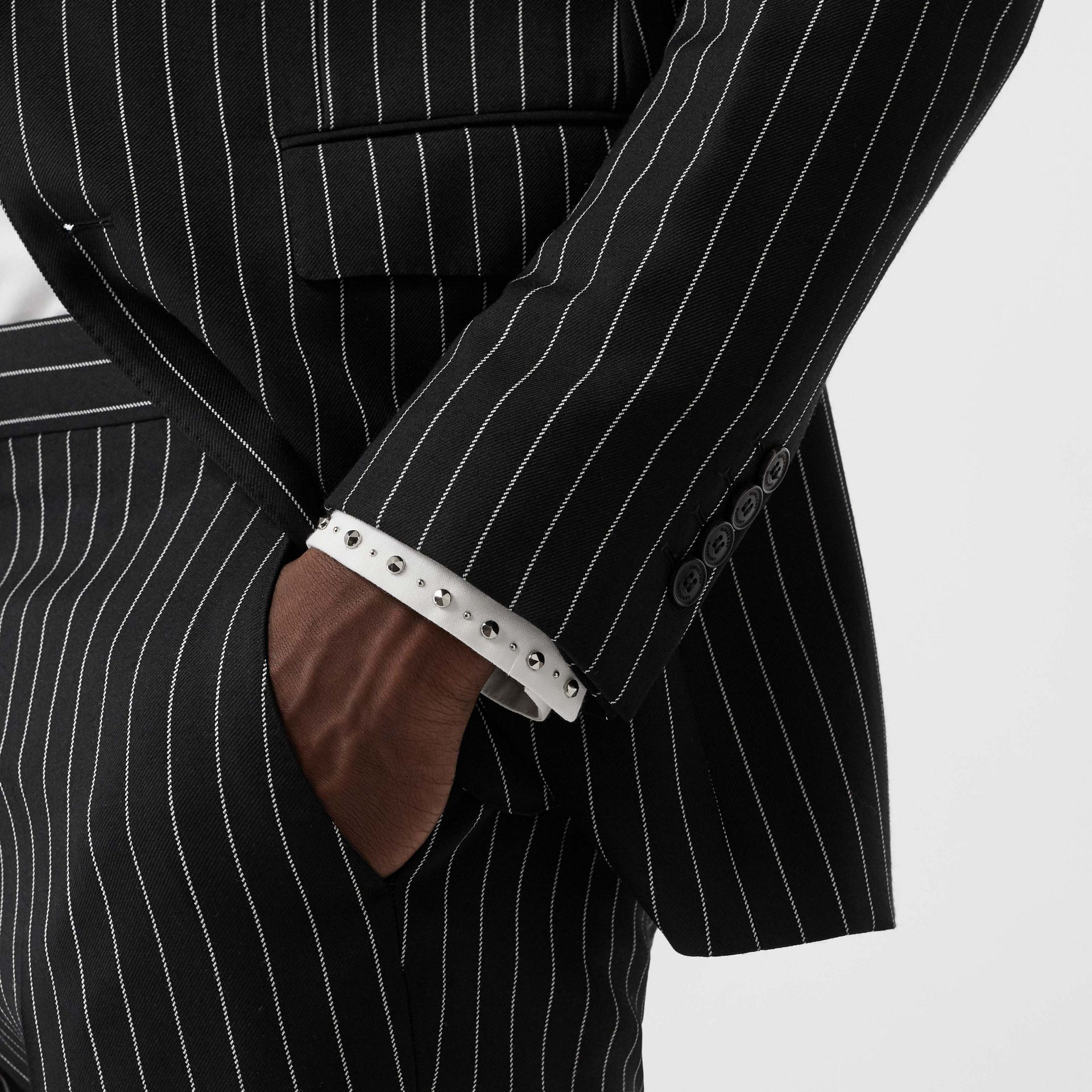 English Fit Pinstriped Wool Suit in Black - Men | Burberry Singapore - gallery image 4