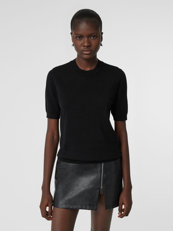 Short-sleeve Logo Intarsia Merino Wool Sweater in Black - Women | Burberry Canada - cell image 3
