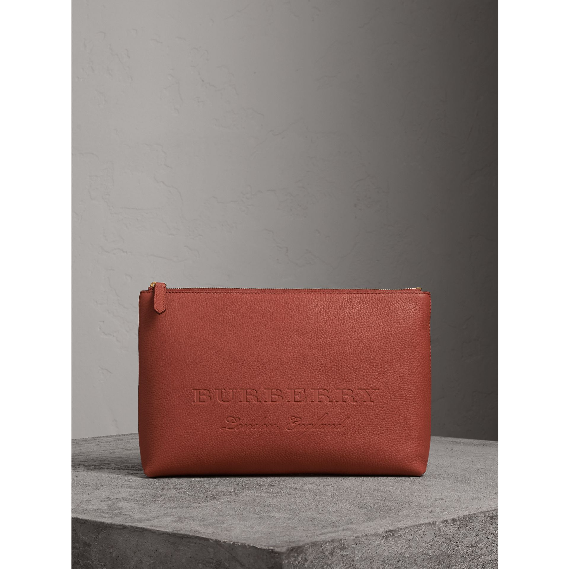 Large Embossed Leather Zip Pouch in Chestnut Brown - Men | Burberry - gallery image 0