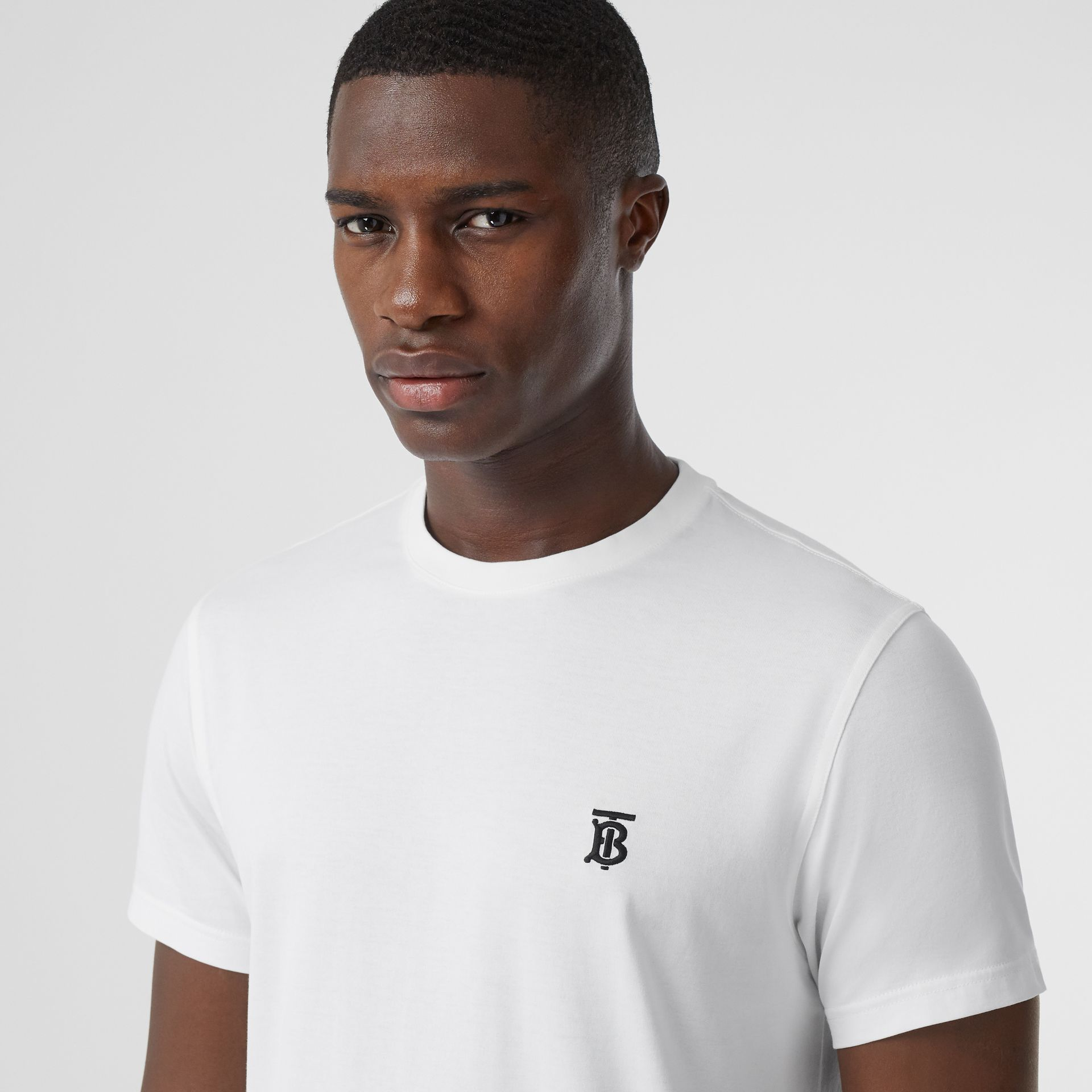 Monogram Motif Cotton T-shirt in White | Burberry - gallery image 1