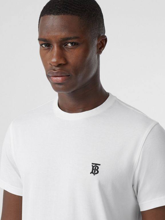 Monogram Motif Cotton T-shirt in White | Burberry - cell image 1