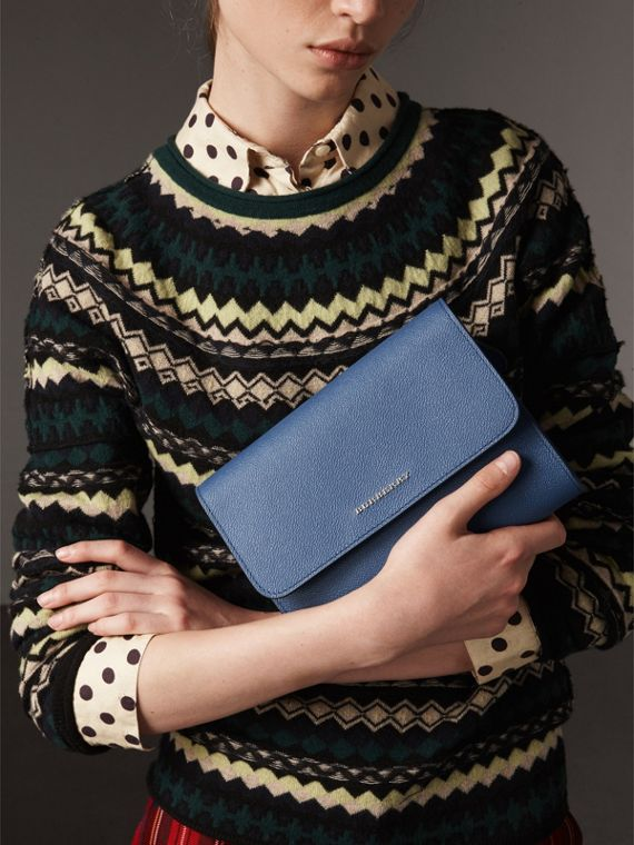 Grainy Leather Crossbody Bag in Steel Blue - Women | Burberry - cell image 3