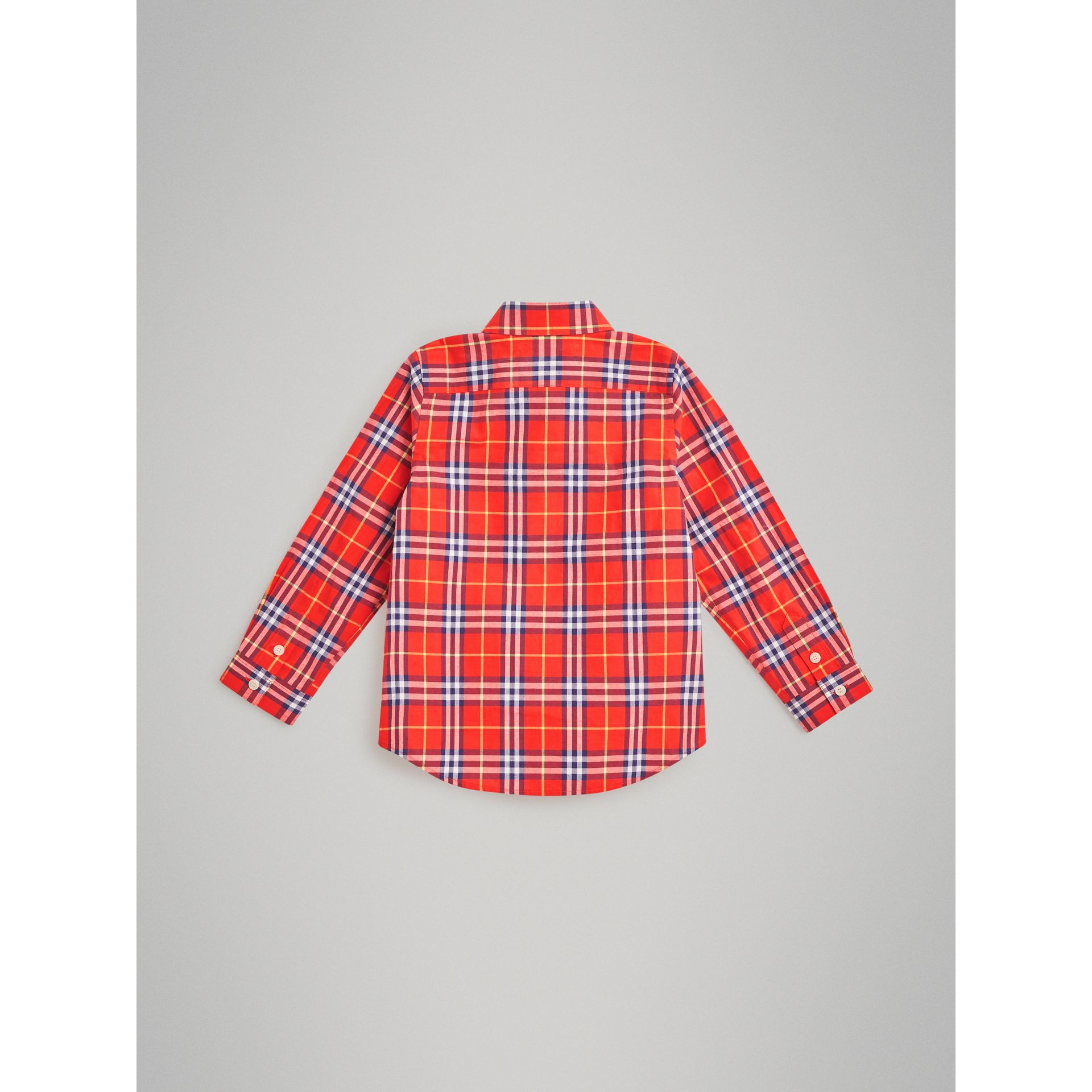 Button-down Collar Check Flannel Shirt in Orange Red | Burberry Canada - gallery image 3
