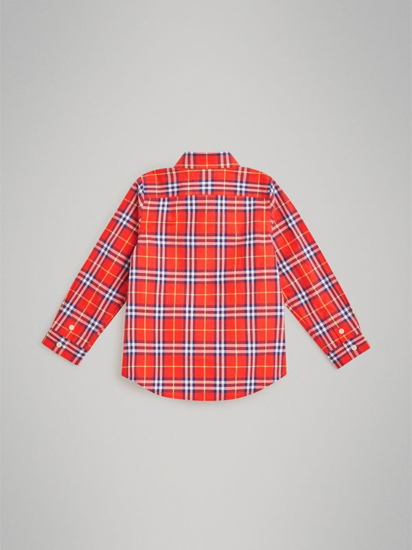 Button-down Collar Check Flannel Shirt in Orange Red | Burberry Australia - cell image 3