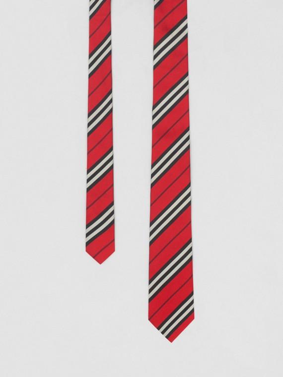 Classic Cut Striped Silk Jacquard Tie in Bright Red