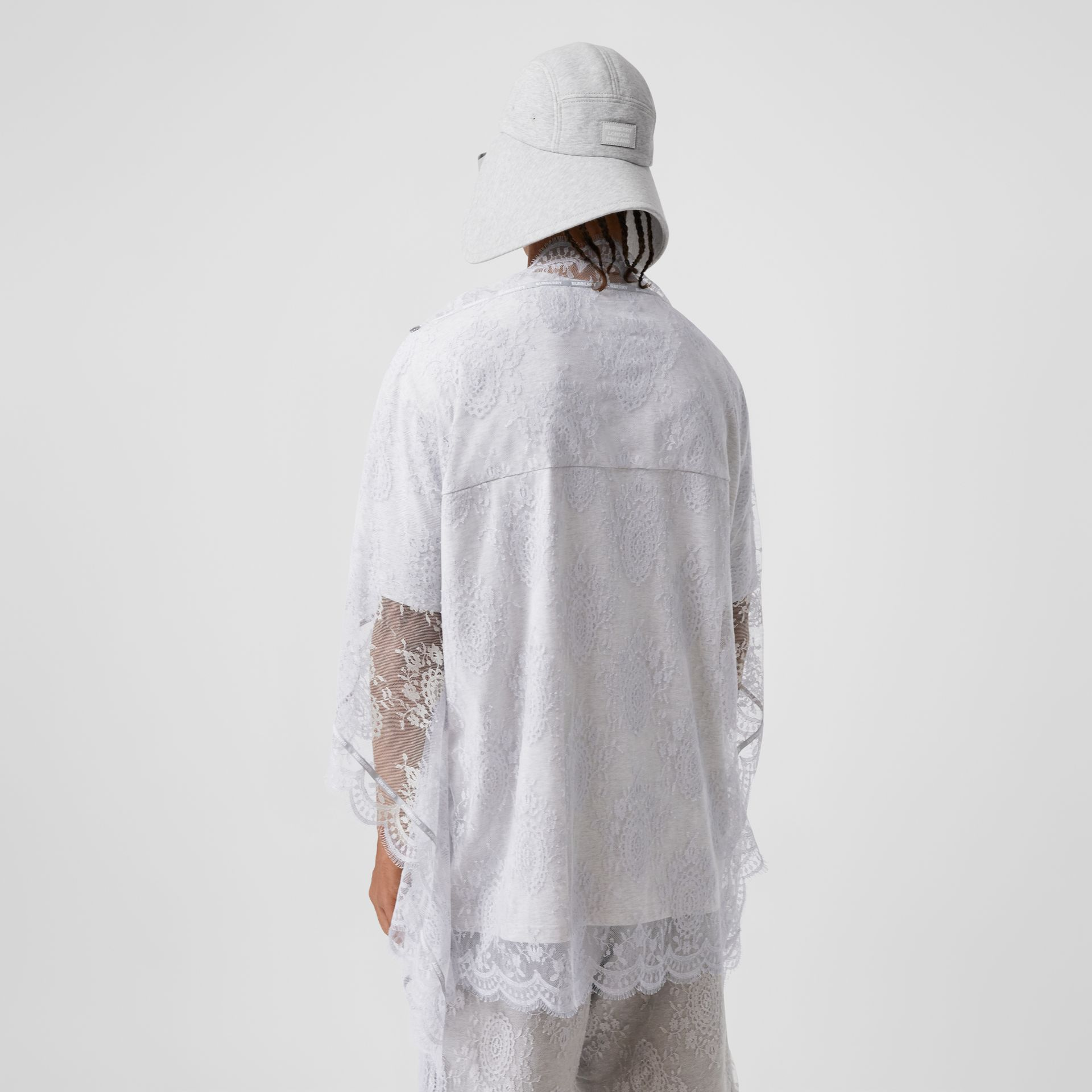 Chantilly Lace Cape Detail Cotton Oversized T-shirt in Porcelain | Burberry United Kingdom - gallery image 2