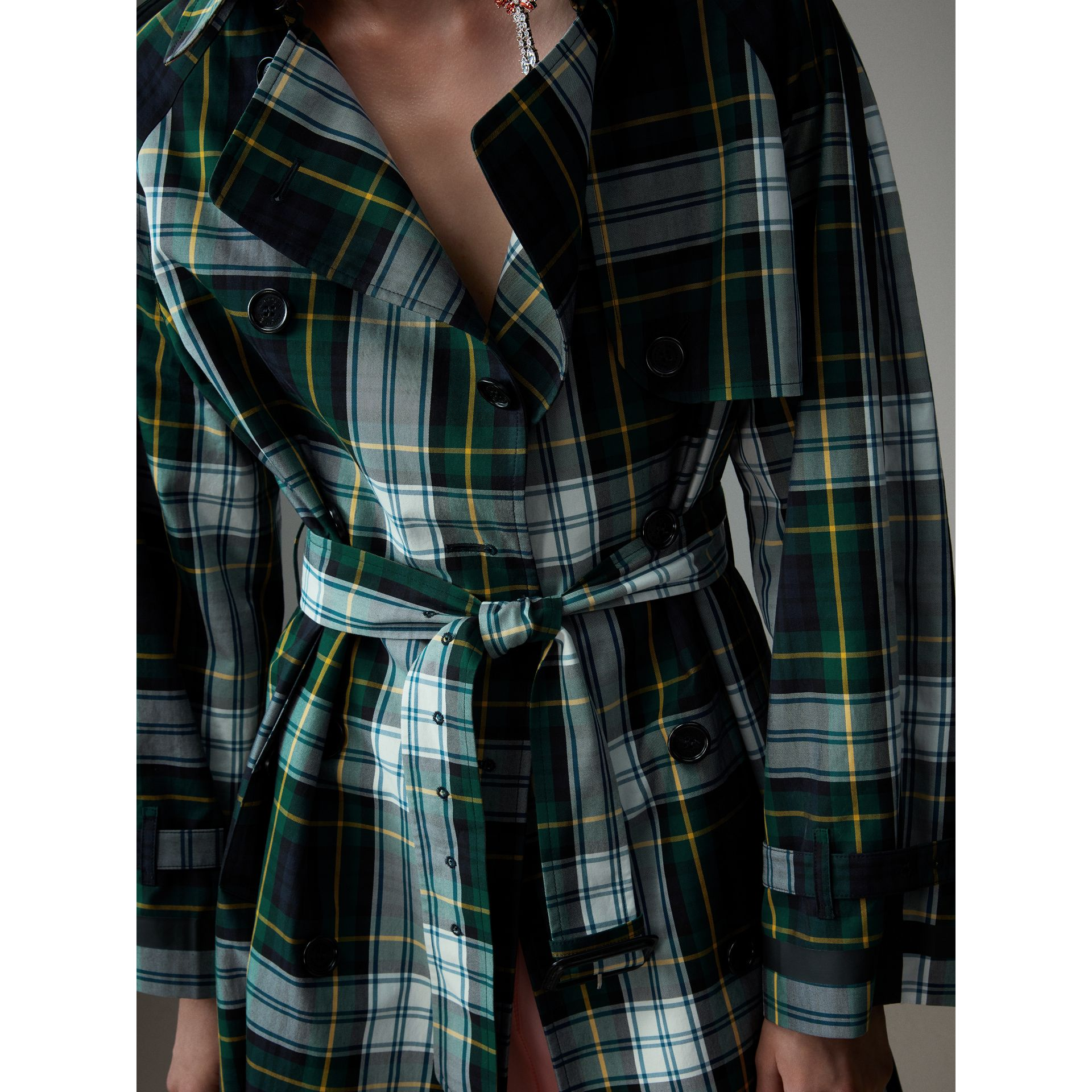 Tartan Cotton Gabardine Trench Coat in Ink Blue - Women | Burberry - gallery image 1