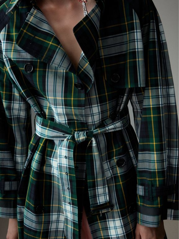 Tartan Cotton Gabardine Trench Coat in Ink Blue - Women | Burberry United Kingdom - cell image 1