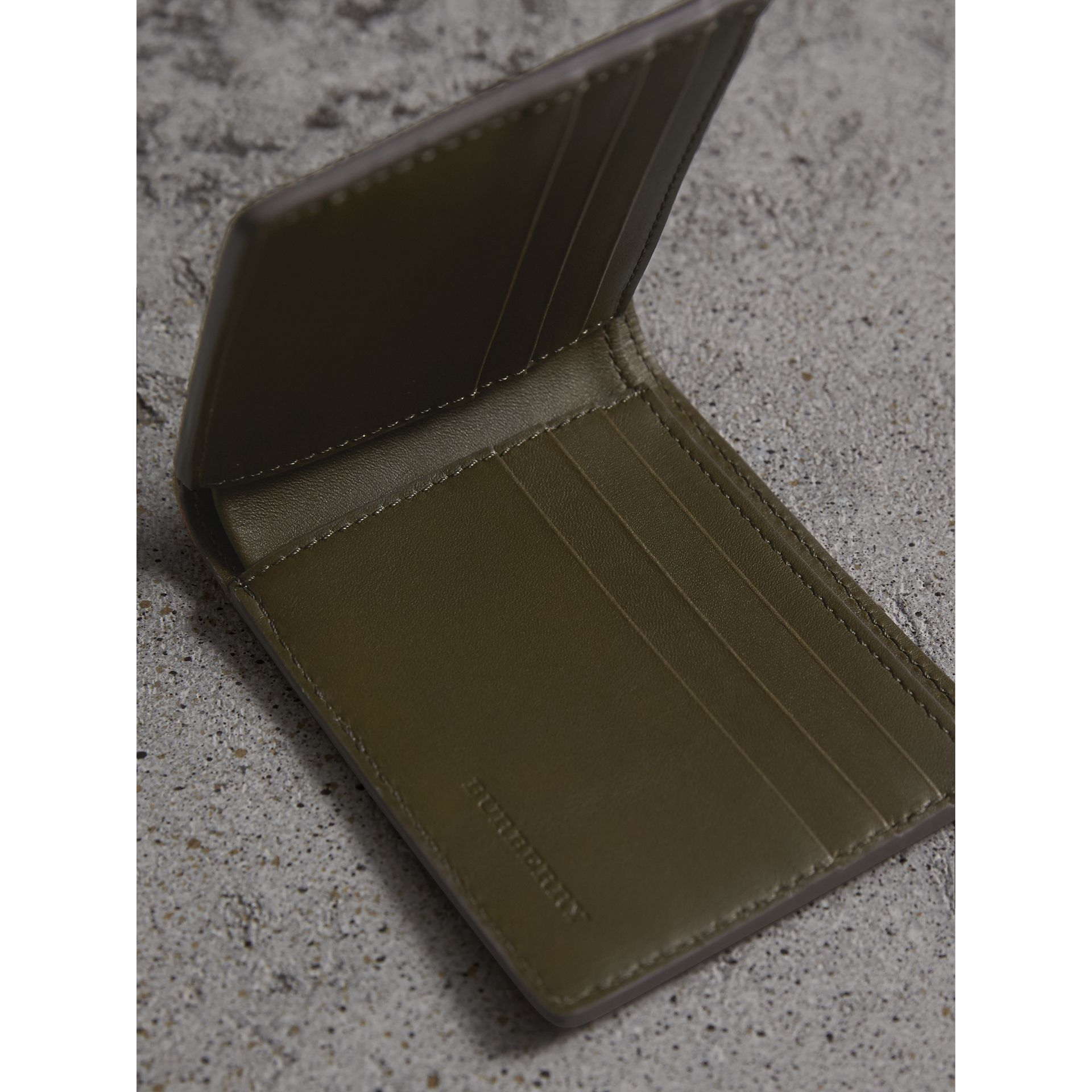 Grainy Leather and House Check Bifold Wallet in Sage - Men | Burberry - gallery image 5