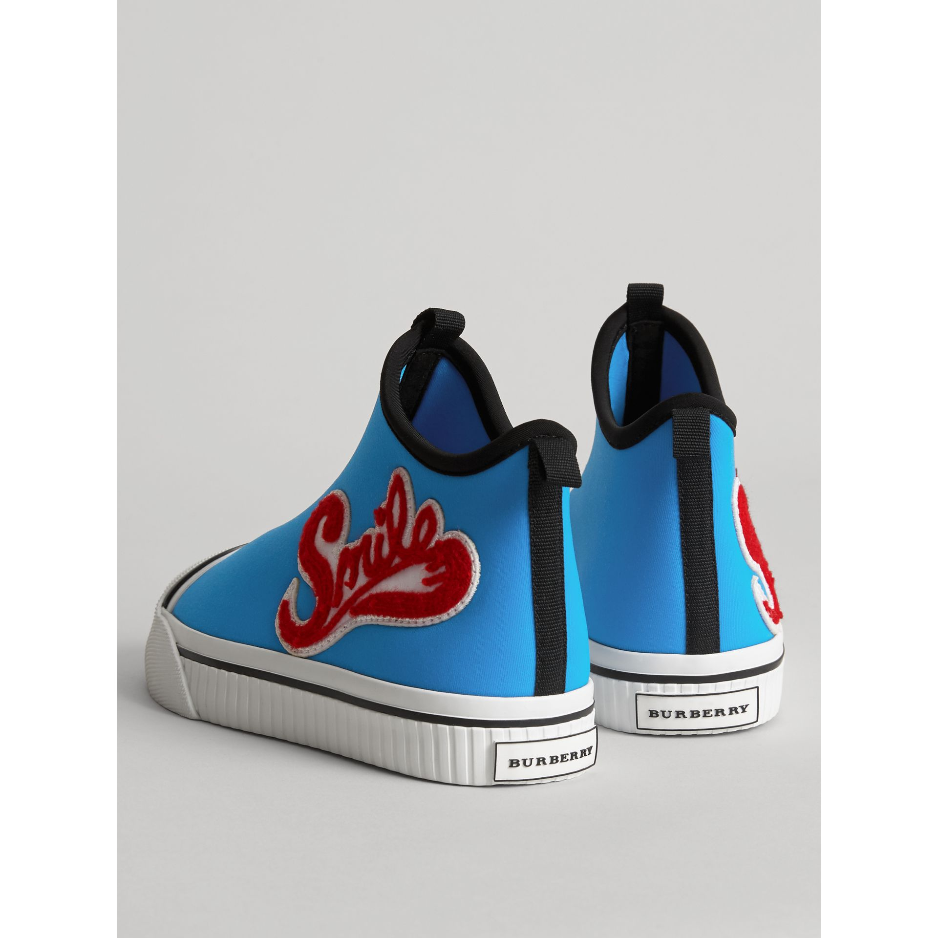 Embroidered Neoprene High-top Sneakers in Bright Sky Blue | Burberry - gallery image 2
