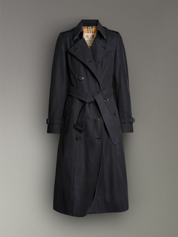 The Long Chelsea Heritage Trench Coat in Midnight - Women | Burberry Australia - cell image 3