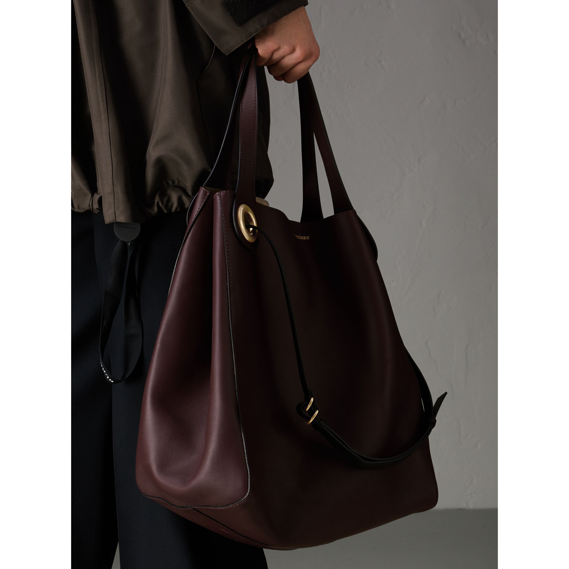 The Large Leather Grommet Detail Tote in Deep Claret | Burberry - gallery image 11