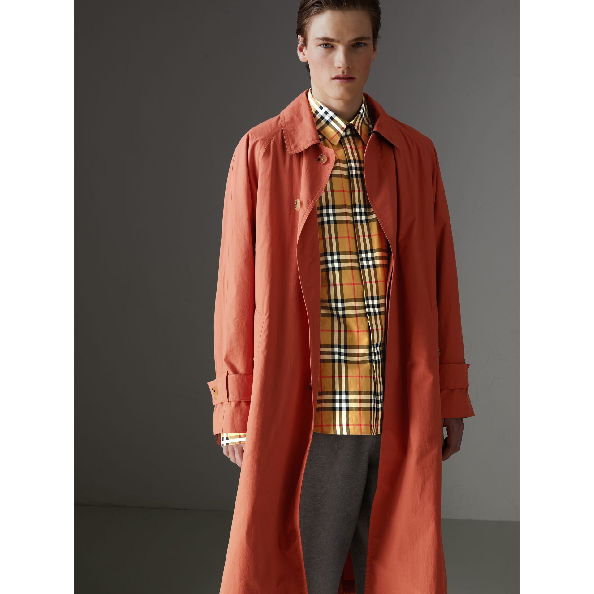 Reissued Cotton Car Coat with Detachable Warmer in Coral - Men | Burberry Australia - gallery image 5