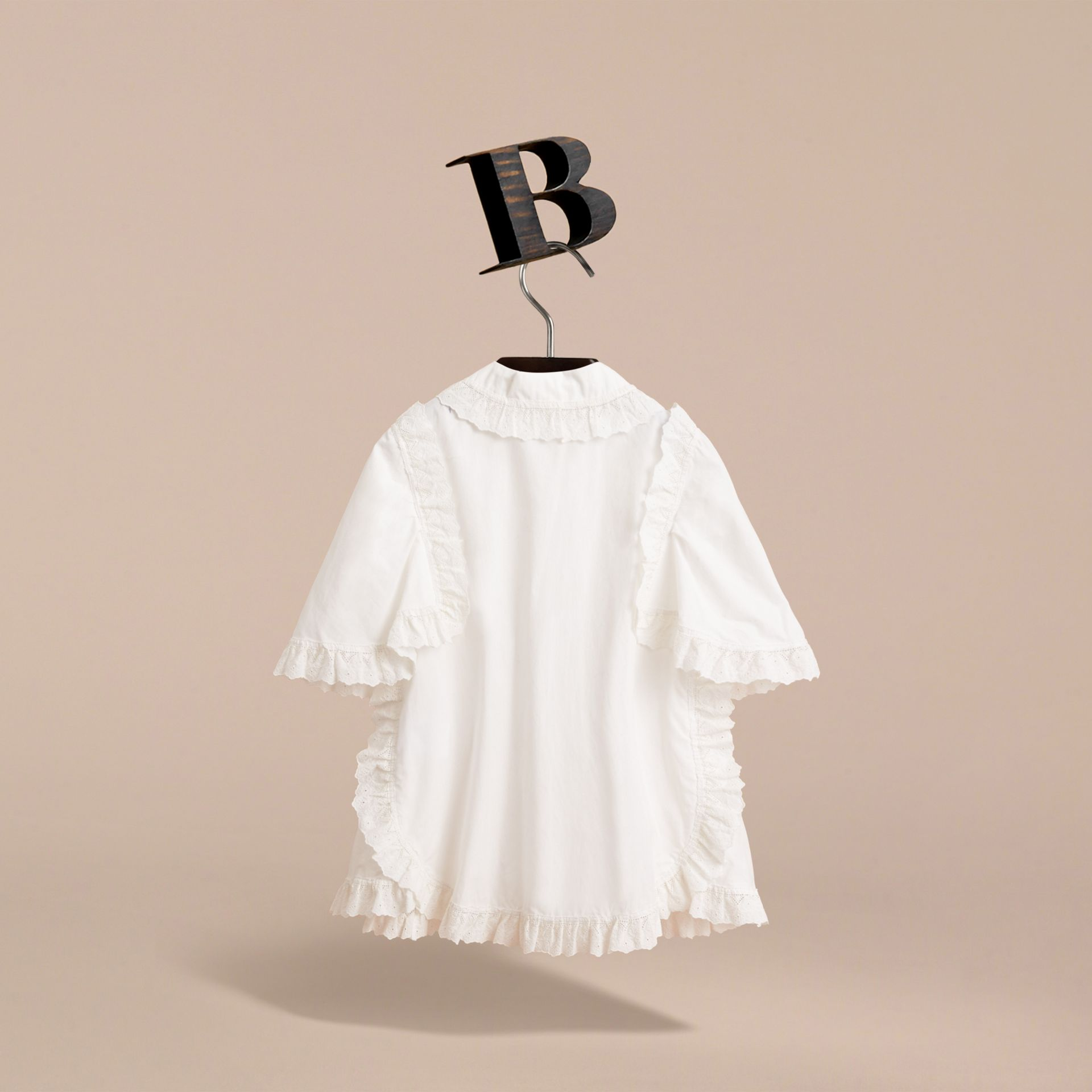 Broderie Anglaise Ruffle Cotton Poplin Shirt in White - Girl | Burberry - gallery image 4