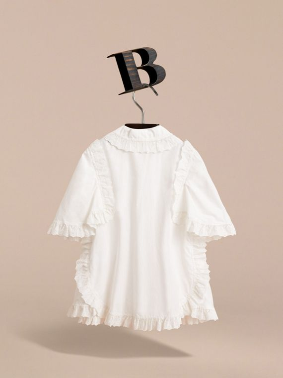 Broderie Anglaise Ruffle Cotton Poplin Shirt in White - Girl | Burberry - cell image 3