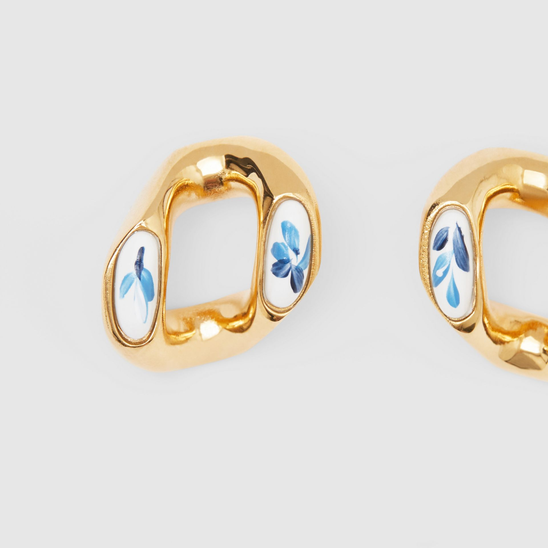Enamel Detail Gold-plated Chain-link Earrings in Light Gold/white/blue - Women | Burberry - gallery image 1