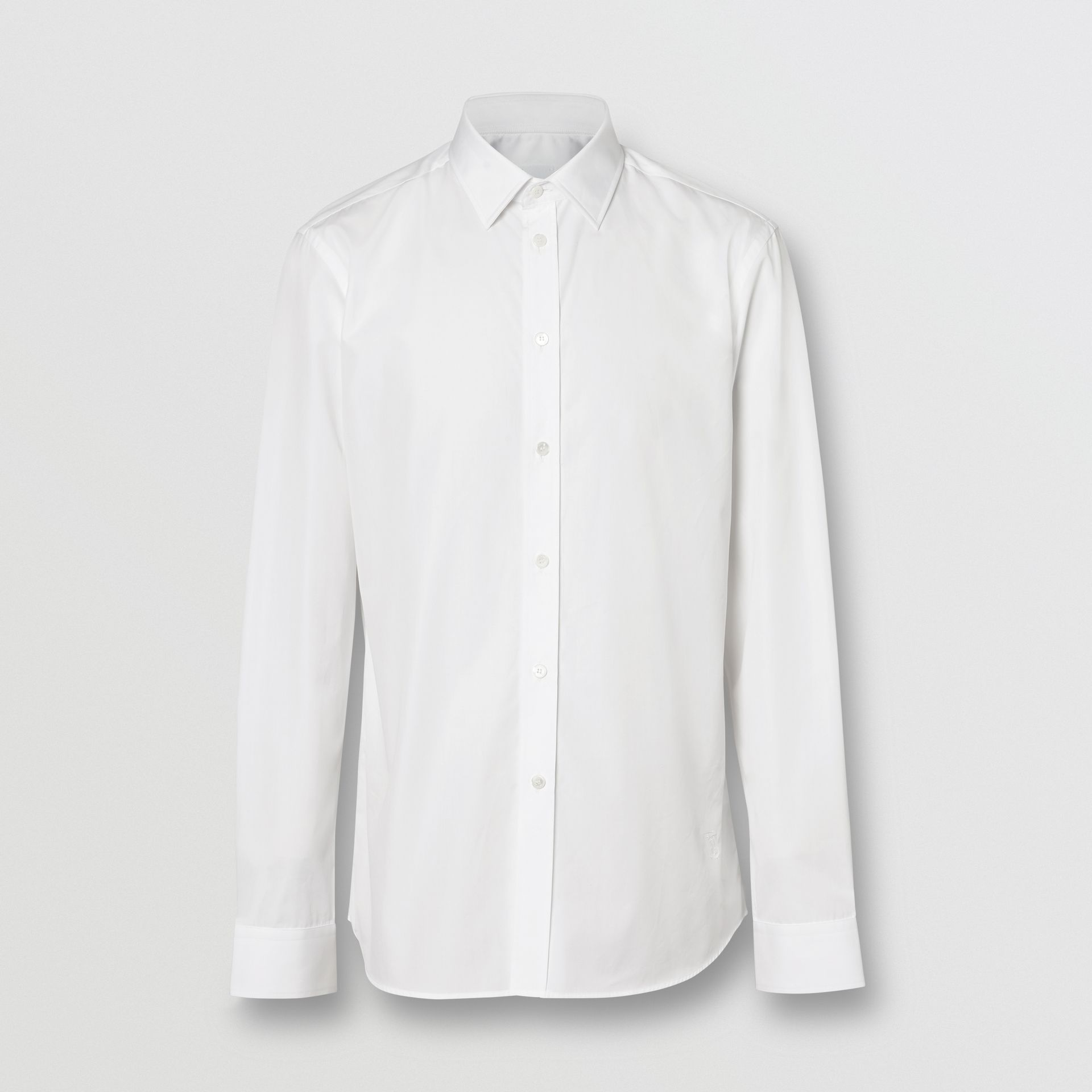 Slim Fit Monogram Motif Cotton Poplin Shirt in White - Men | Burberry Canada - gallery image 3
