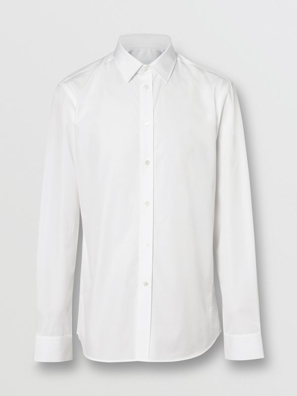 Slim Fit Monogram Motif Cotton Poplin Shirt in White - Men | Burberry Canada - cell image 3