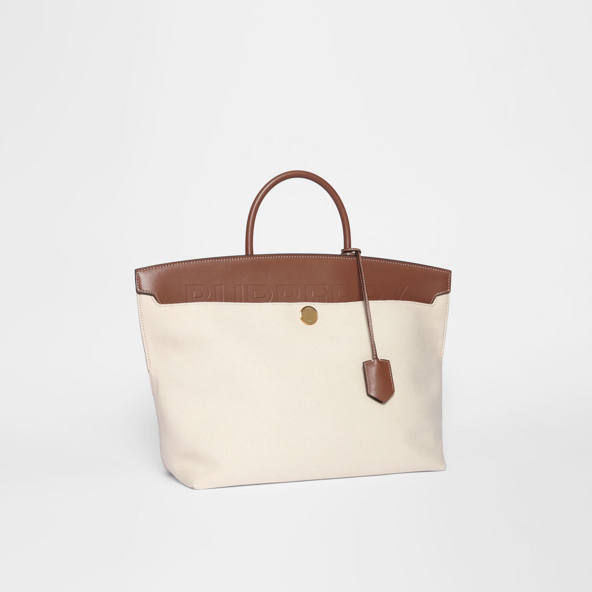Cotton Canvas and Leather Society Top Handle Bag in Natural/malt Brown - Women | Burberry - gallery image 6