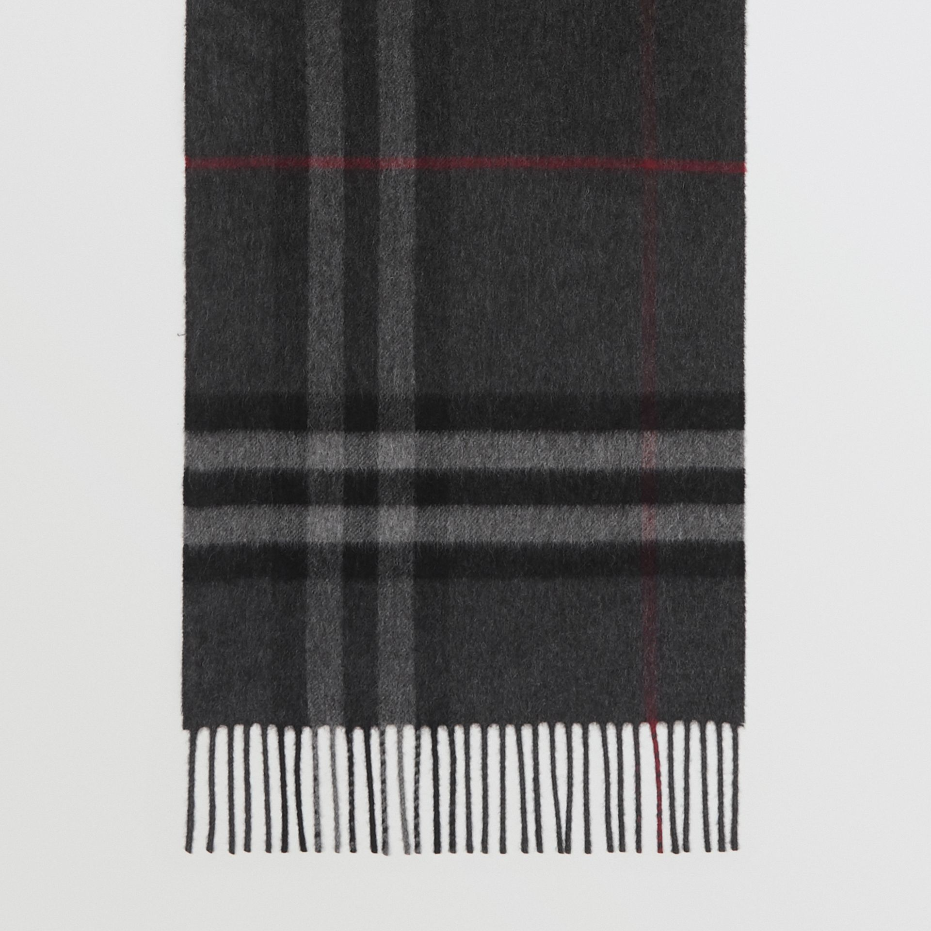 The Classic Check Cashmere Scarf in Charcoal | Burberry United Kingdom - gallery image 3
