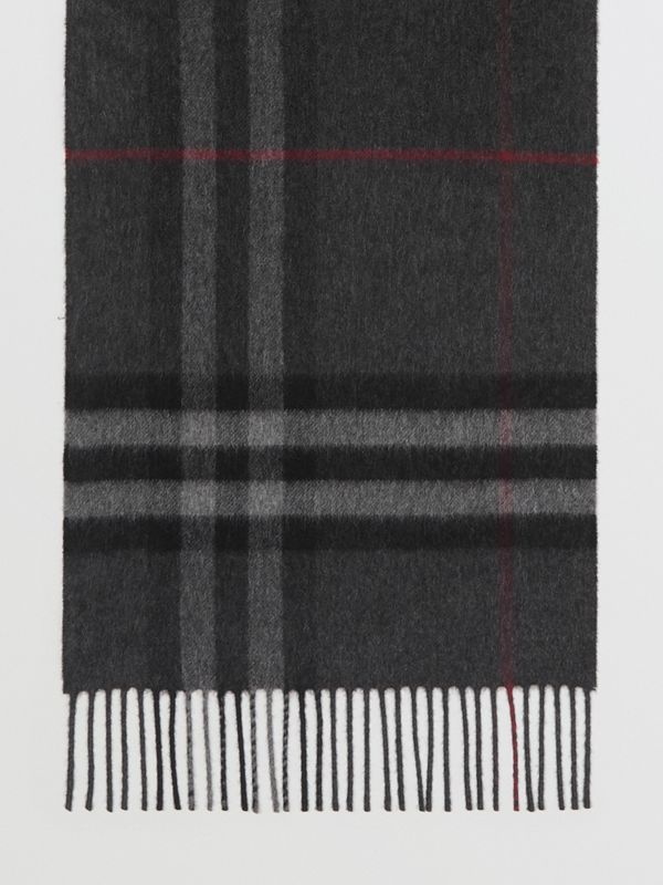 The Classic Check Cashmere Scarf in Charcoal | Burberry United Kingdom - cell image 3