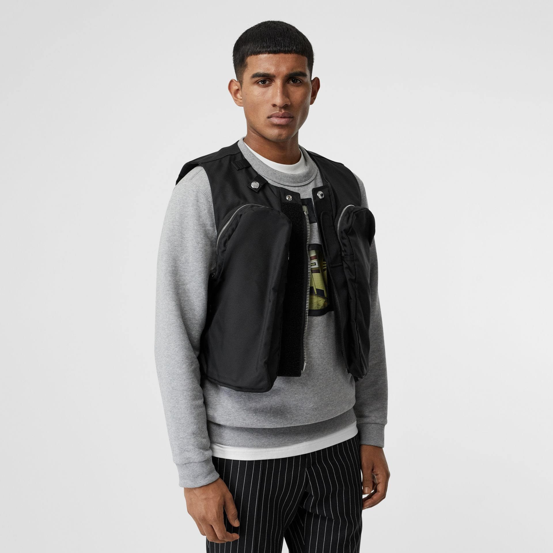 Nylon Twill Bomber Jacket with Detachable Gilet in Black - Men | Burberry United States - gallery image 1