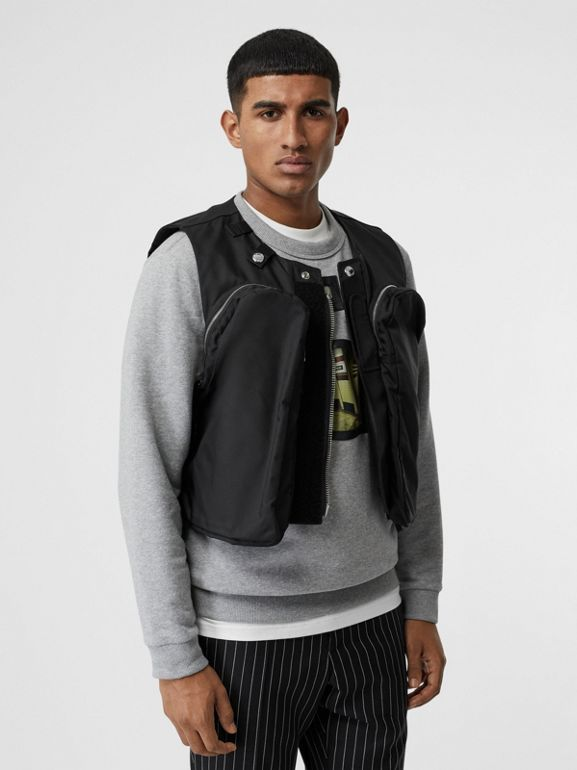 Nylon Twill Bomber Jacket with Detachable Gilet in Black - Men | Burberry United States - cell image 1