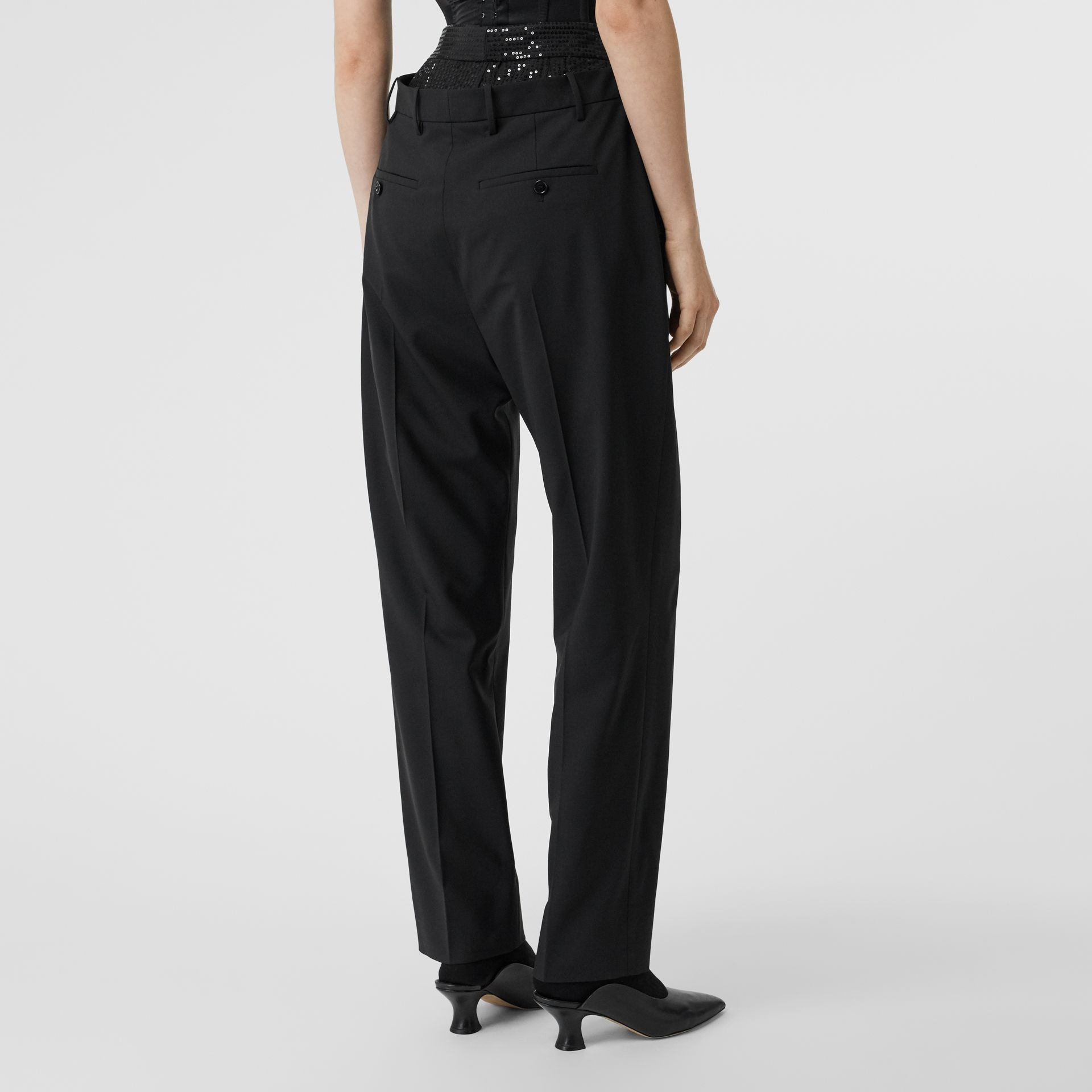 Pantalon en laine stretch à double ceinture avec sequins (Noir) - Femme | Burberry Canada - photo de la galerie 2
