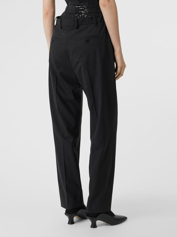 Sequinned Panel Double-waist Stretch Wool Trousers in Black - Women | Burberry - cell image 2
