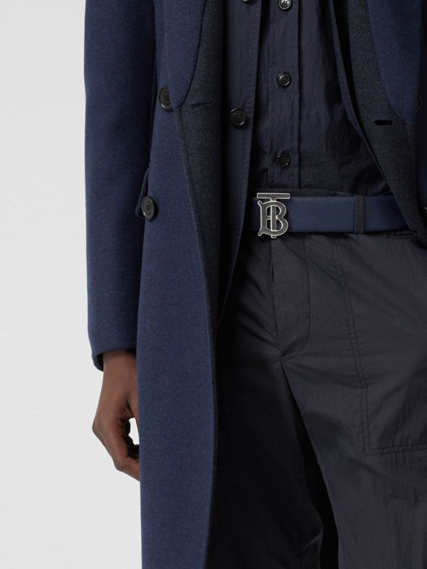 Reversible Monogram Motif Leather Belt in Navy/black - Men | Burberry Hong Kong S.A.R - cell image 2