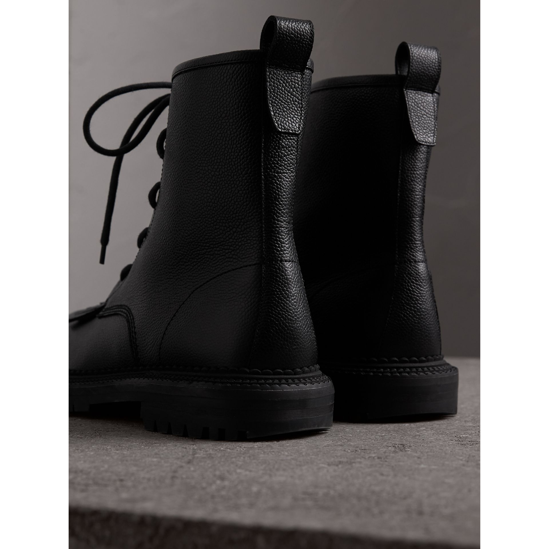 Fringe Detail Grainy Leather Zipped Boots in Black - Men | Burberry United Kingdom - gallery image 3