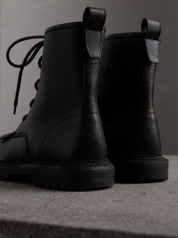 Fringe Detail Grainy Leather Zip-front Boots in Black - Men | Burberry - cell image 3